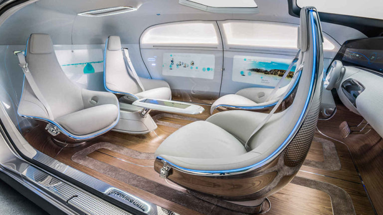 The interior of the Mercedes F015 concept
